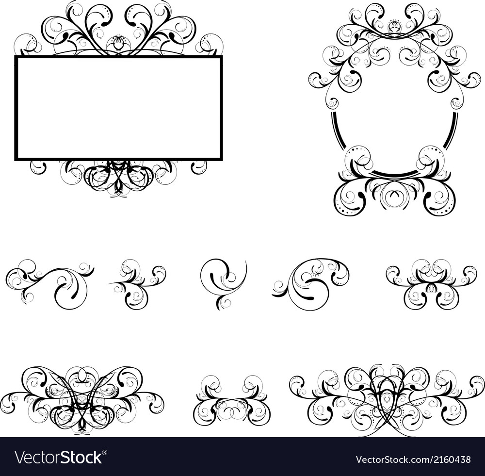 Floral decorative elements and borders vector | Price: 1 Credit (USD $1)