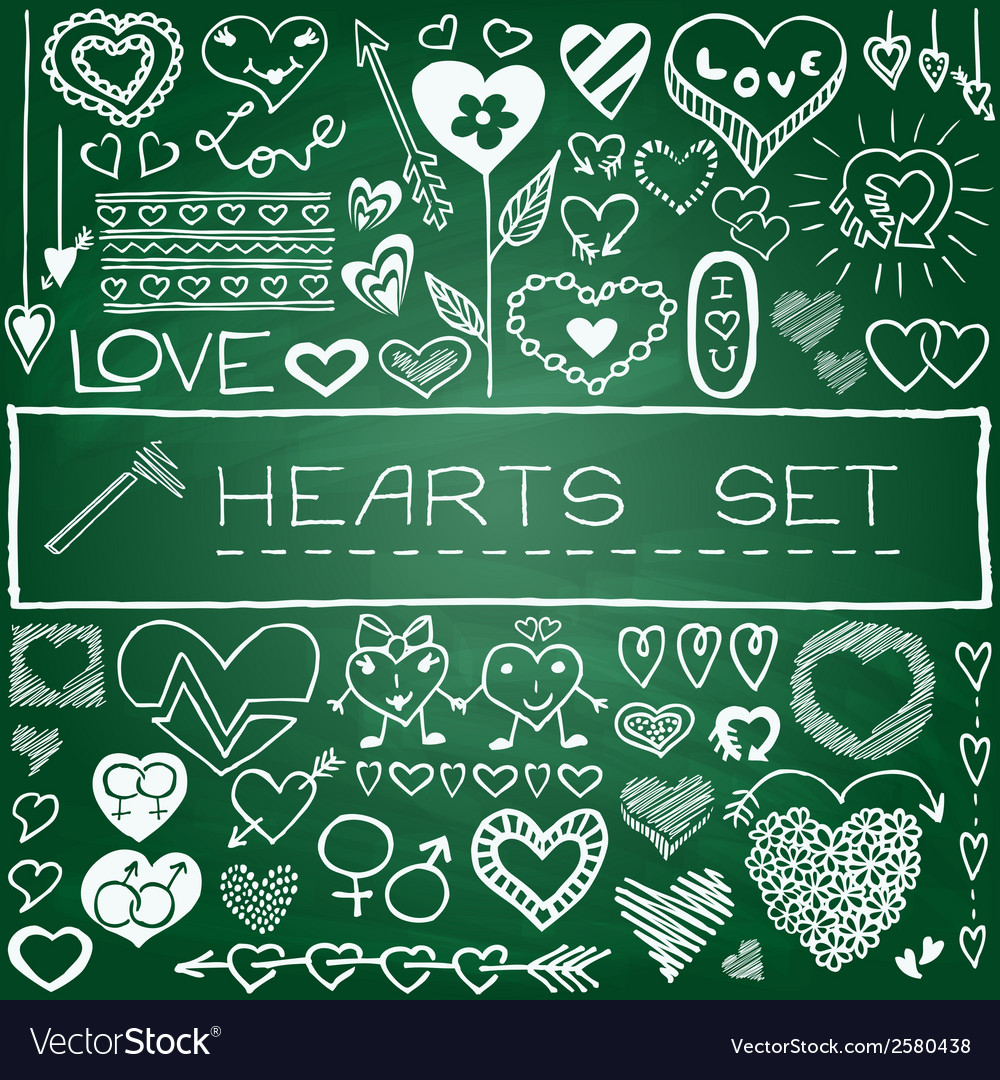 Hand drawn set of hearts and arrows vector | Price: 1 Credit (USD $1)