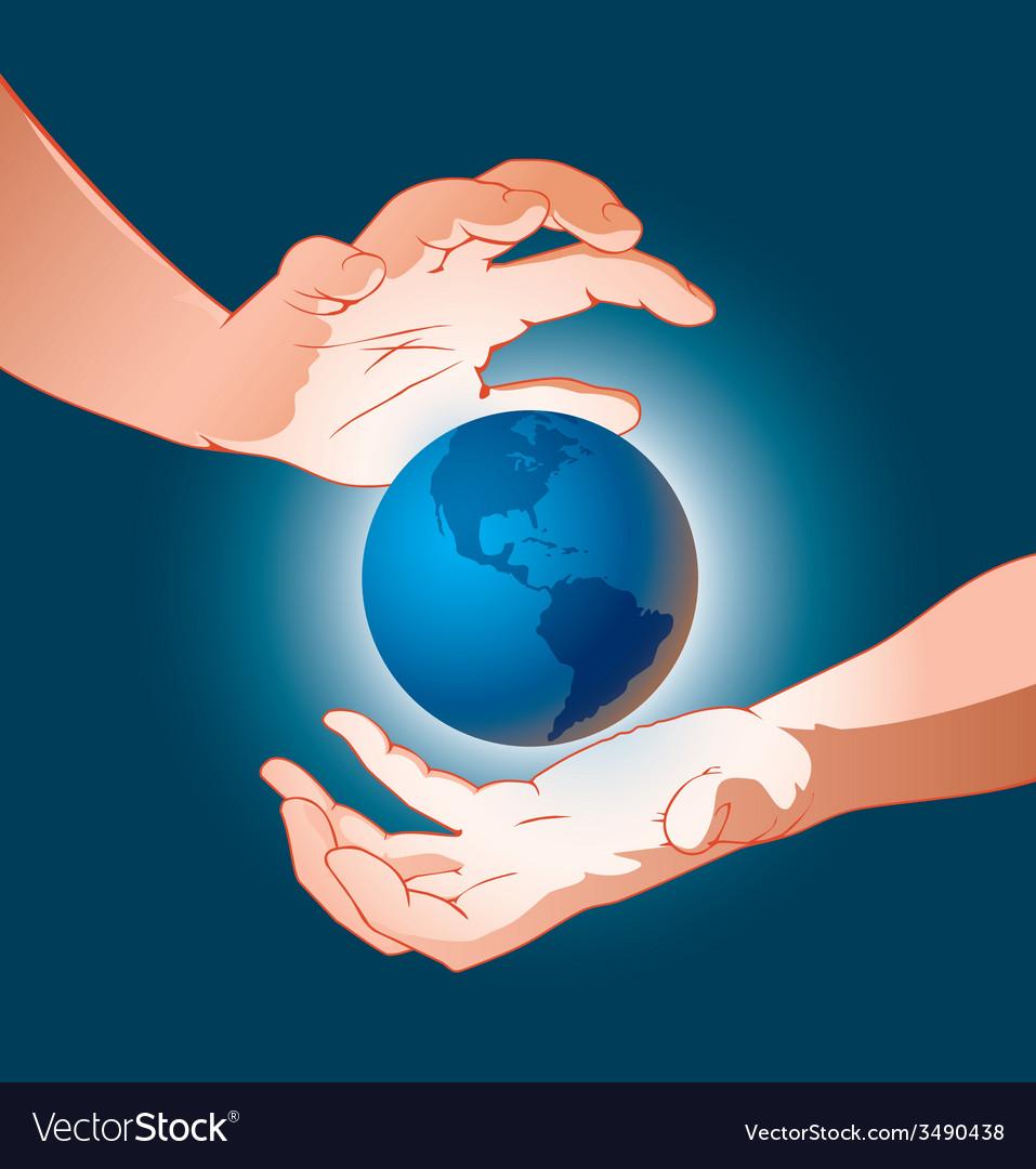 Hands earth 1 vector | Price: 1 Credit (USD $1)