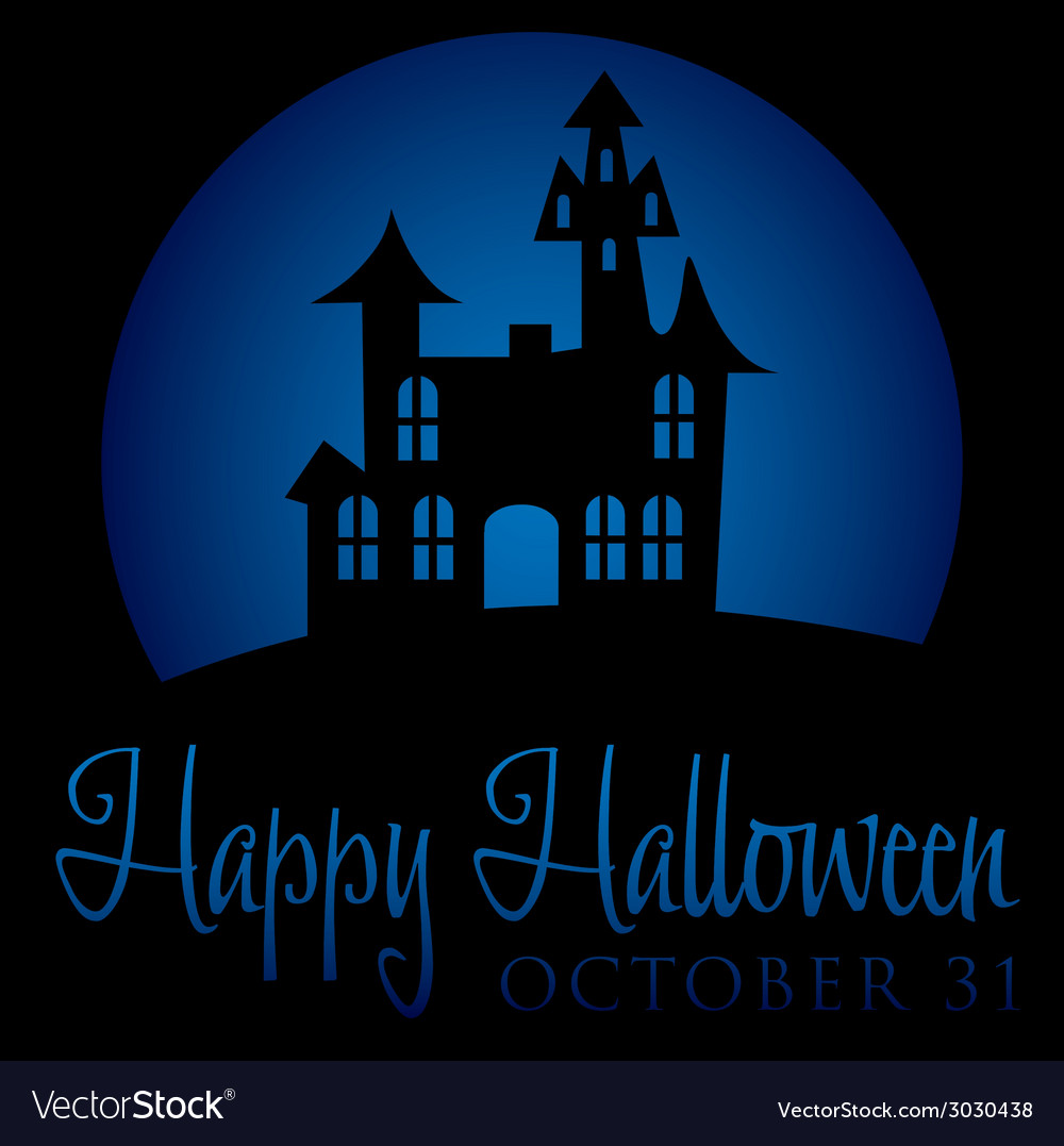 Haunted house rising moon halloween card in format vector | Price: 1 Credit (USD $1)