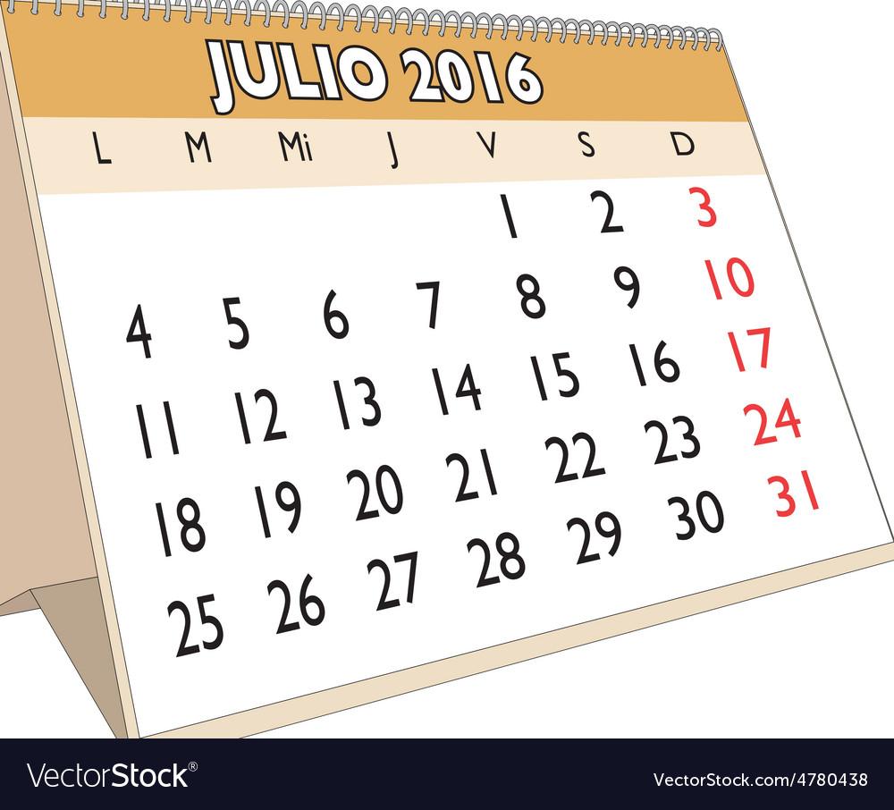 Julio 2016 vector | Price: 1 Credit (USD $1)