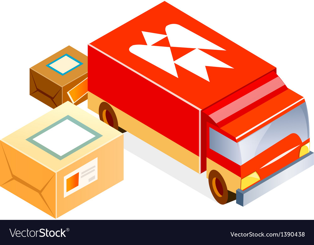 Post office car and package vector | Price: 1 Credit (USD $1)