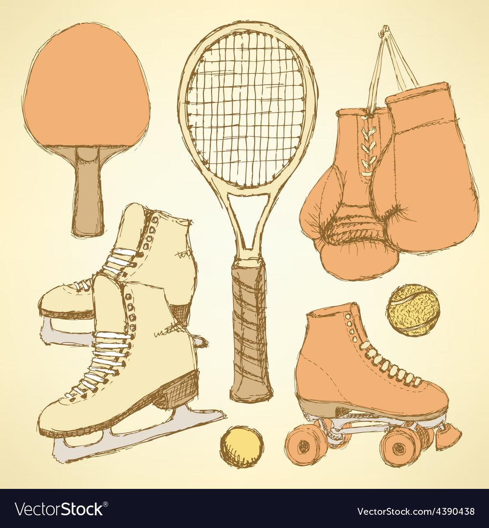 Sketch sport equipment vector | Price: 1 Credit (USD $1)