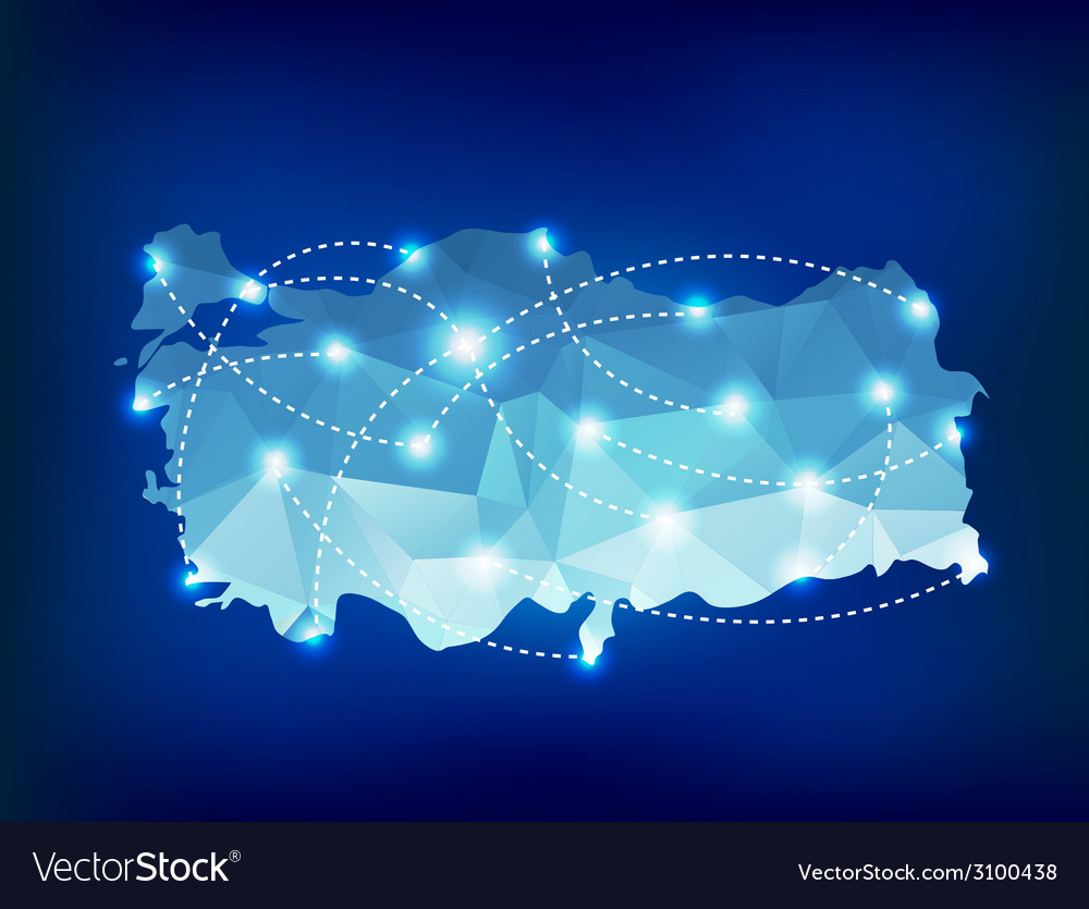 Turkey country map polygonal with spot lights vector | Price: 1 Credit (USD $1)