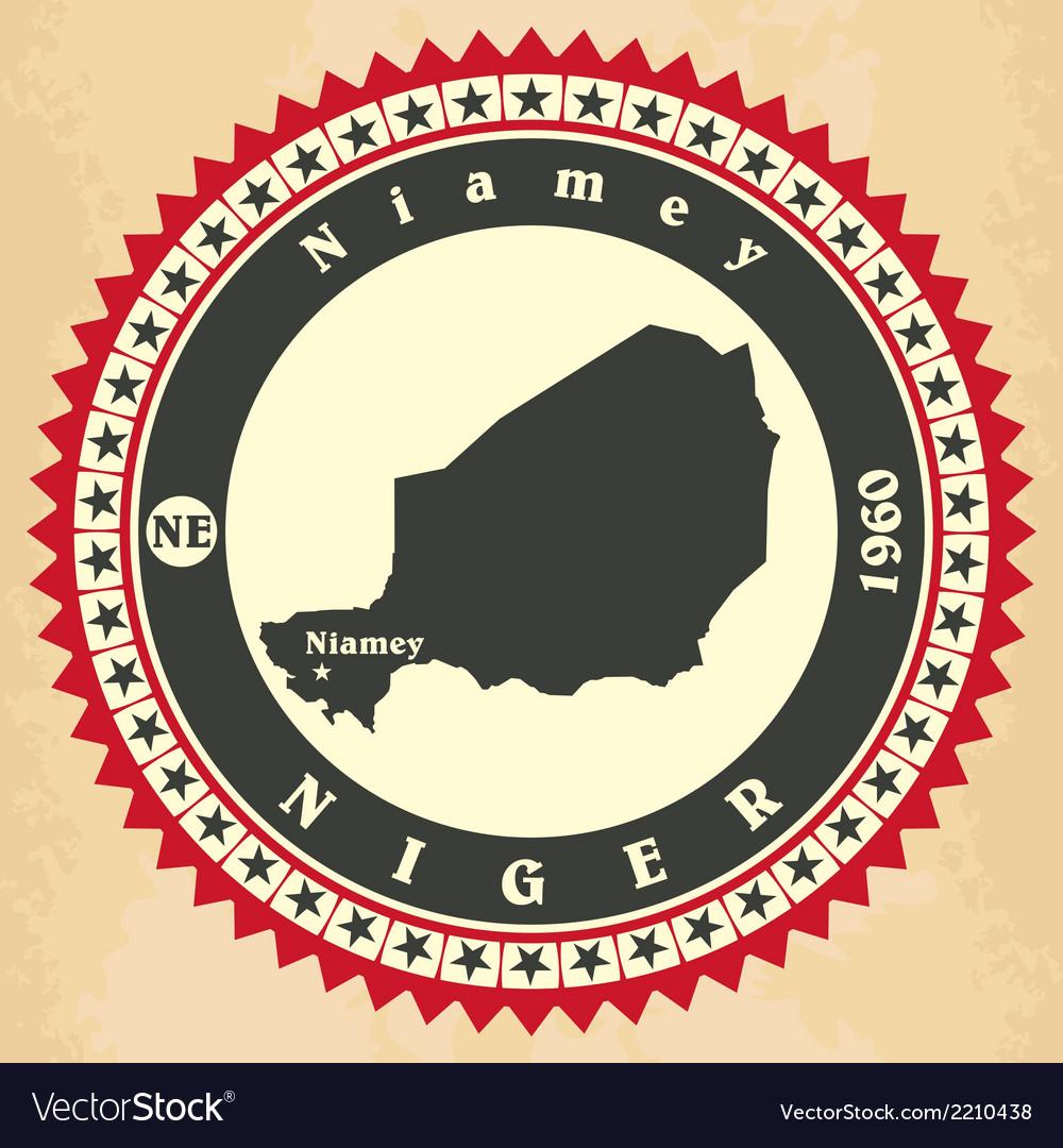 Vintage label-sticker cards of niger vector | Price: 1 Credit (USD $1)