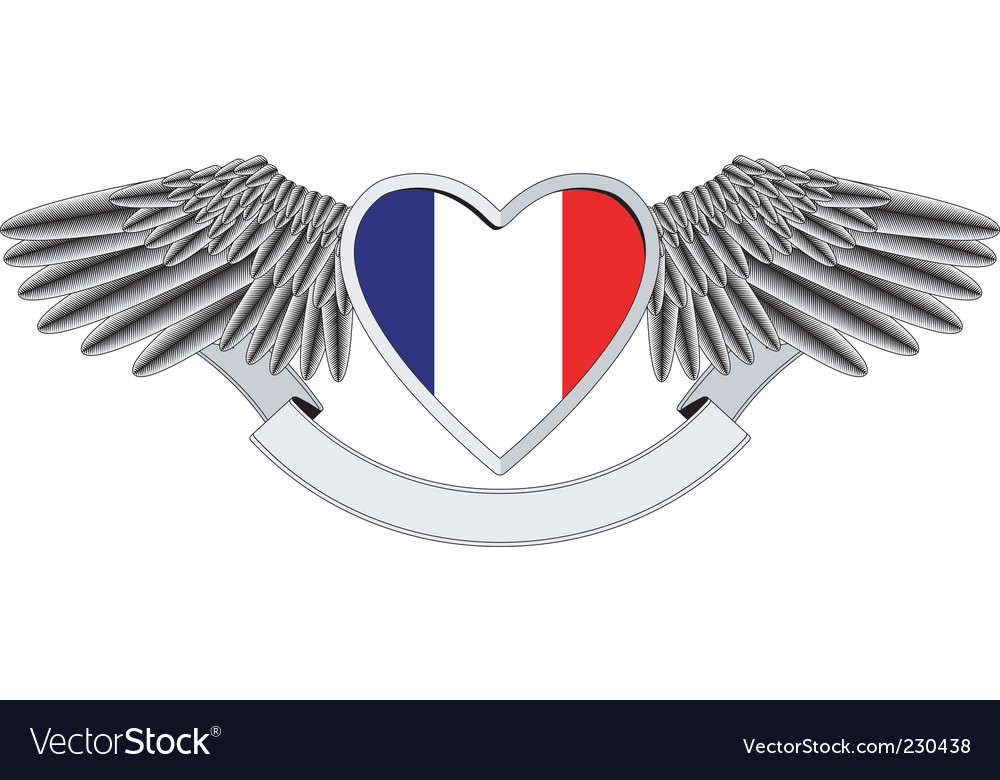 Winged heart with french flag vector | Price: 1 Credit (USD $1)