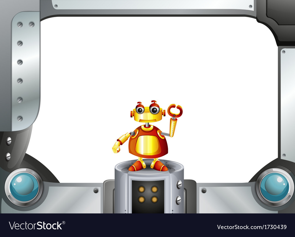 A colorful robot in the middle of the empty frame vector | Price: 1 Credit (USD $1)