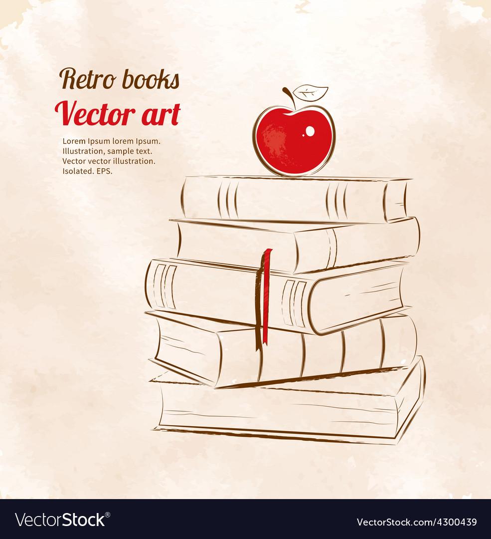 Apple on books vector | Price: 1 Credit (USD $1)