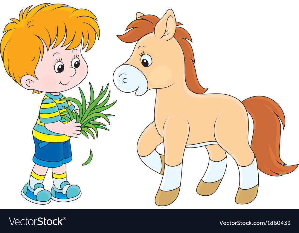 Boy feeds a pony vector | Price: 1 Credit (USD $1)