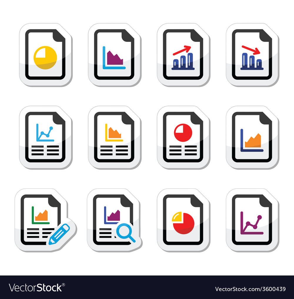 Document with pie chart graph labels set vector   Price: 1 Credit (USD $1)