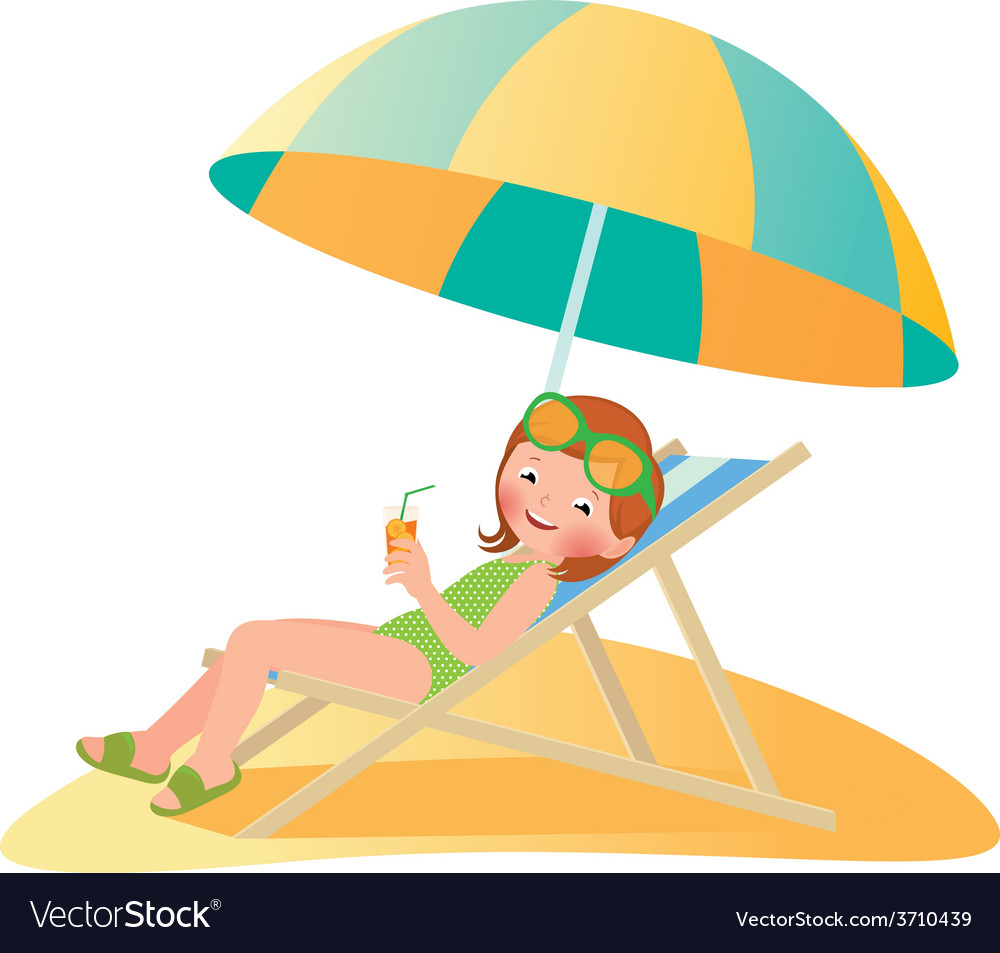 Girl on the beach in a deckchair vector | Price: 1 Credit (USD $1)