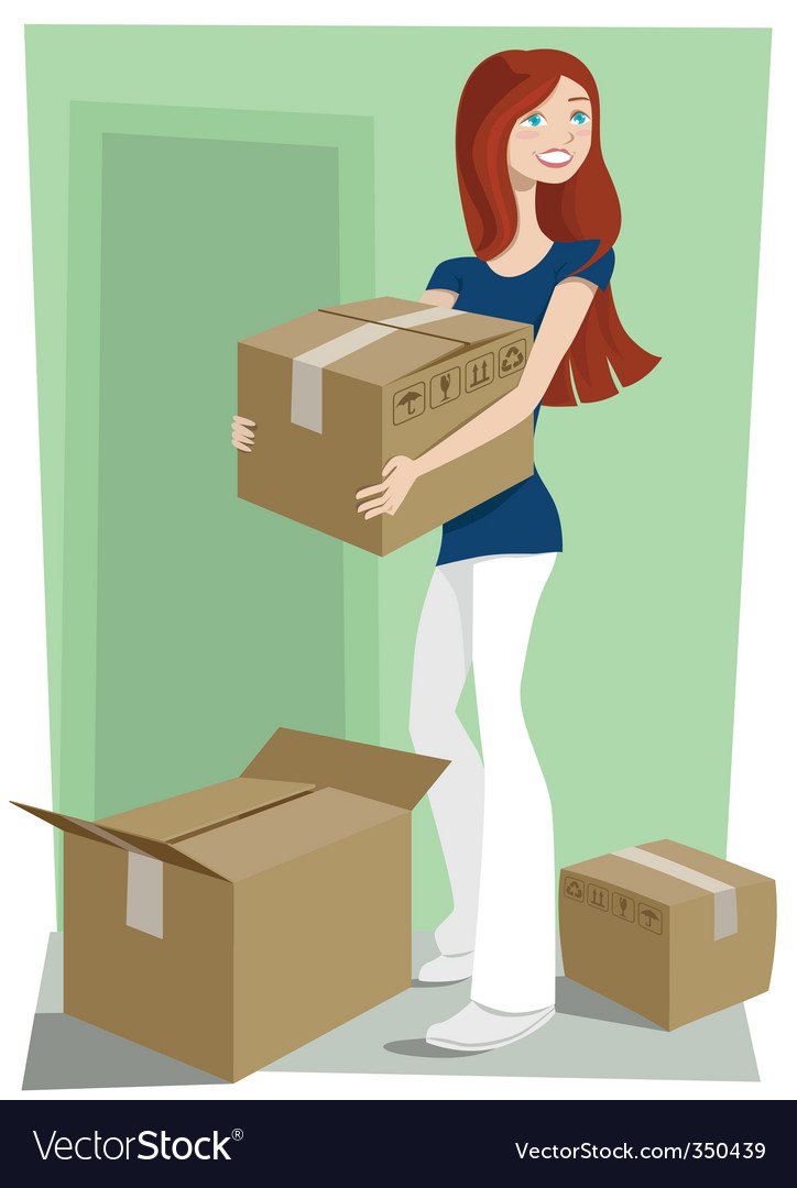 Girl with boxes vector | Price: 3 Credit (USD $3)