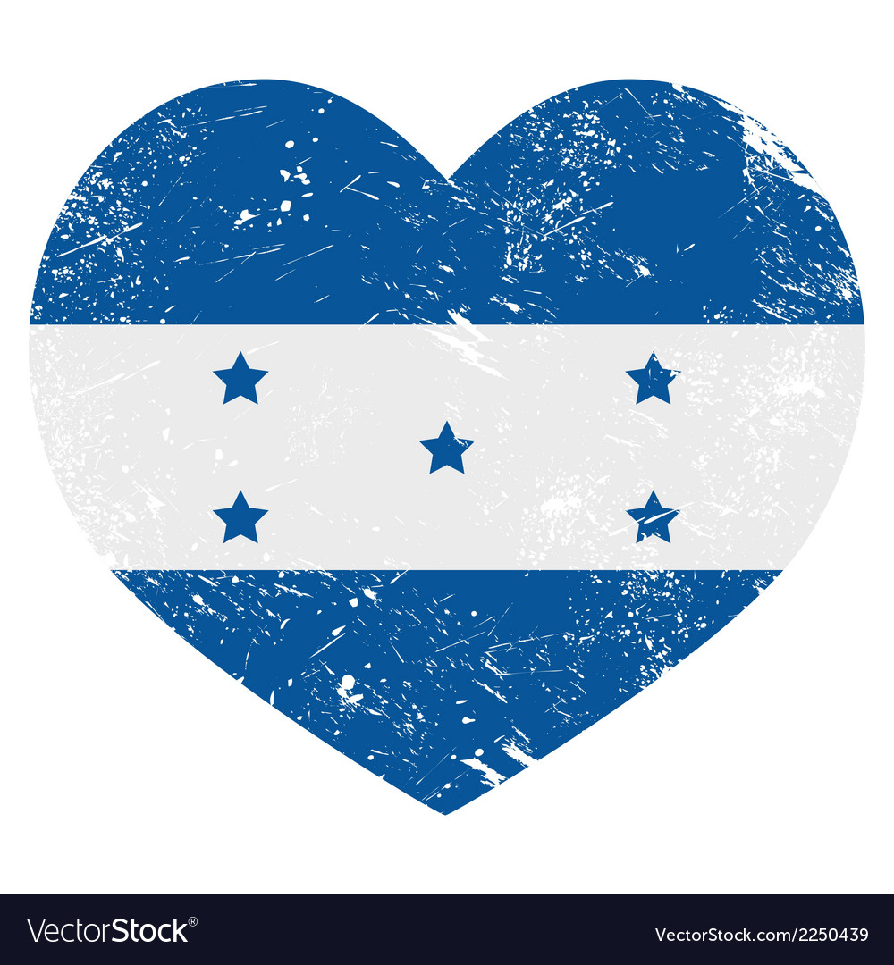 Honduras retro heart shaped flag vector | Price: 1 Credit (USD $1)