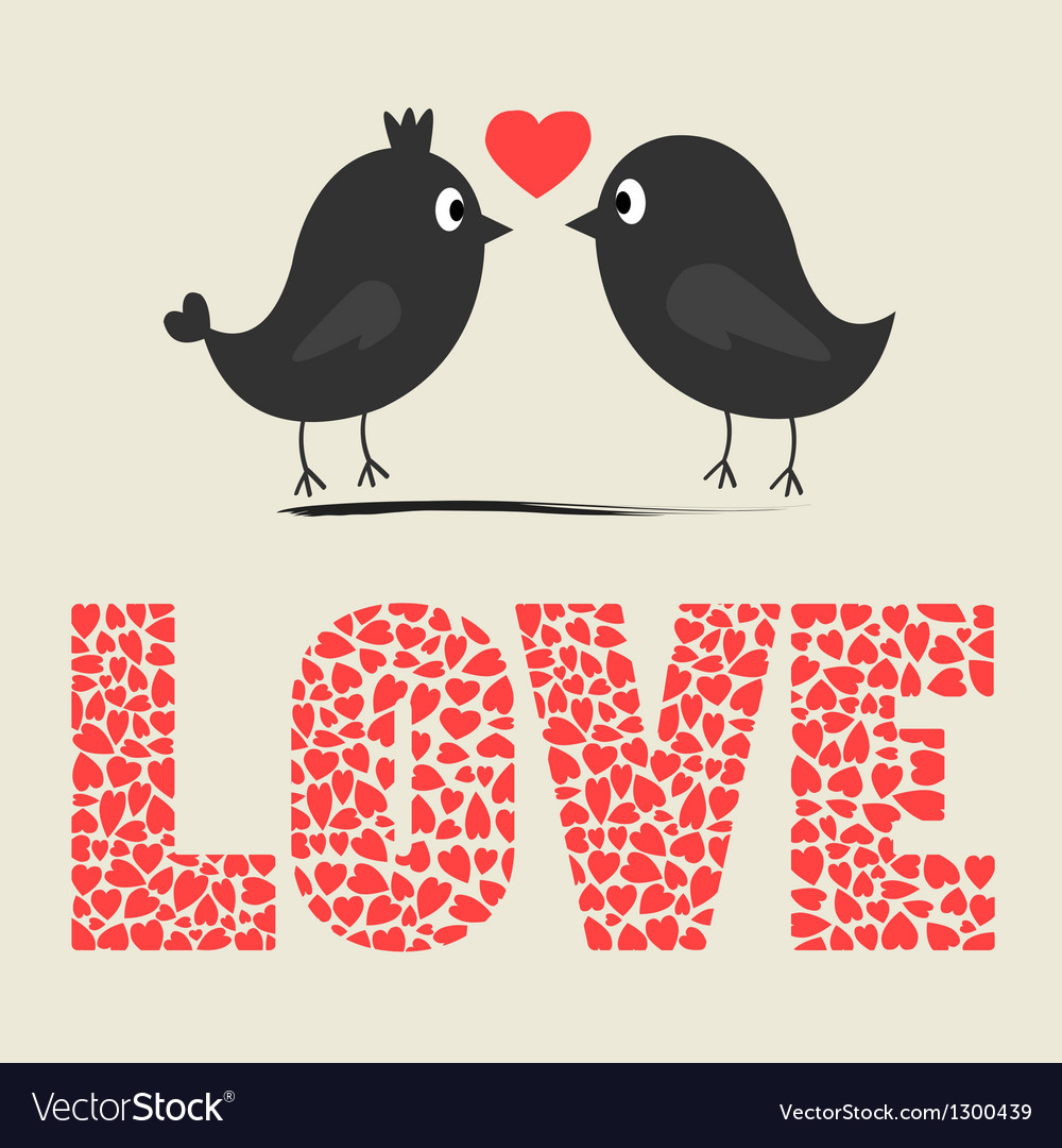 Love bird card vector | Price: 1 Credit (USD $1)