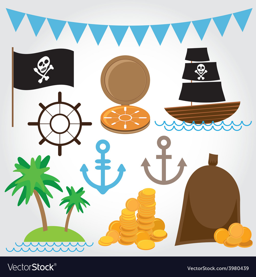Marine pirate set on white background vector | Price: 1 Credit (USD $1)