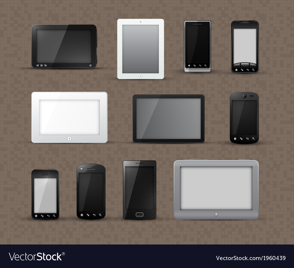 Modern phone and tablet icons vector | Price: 1 Credit (USD $1)