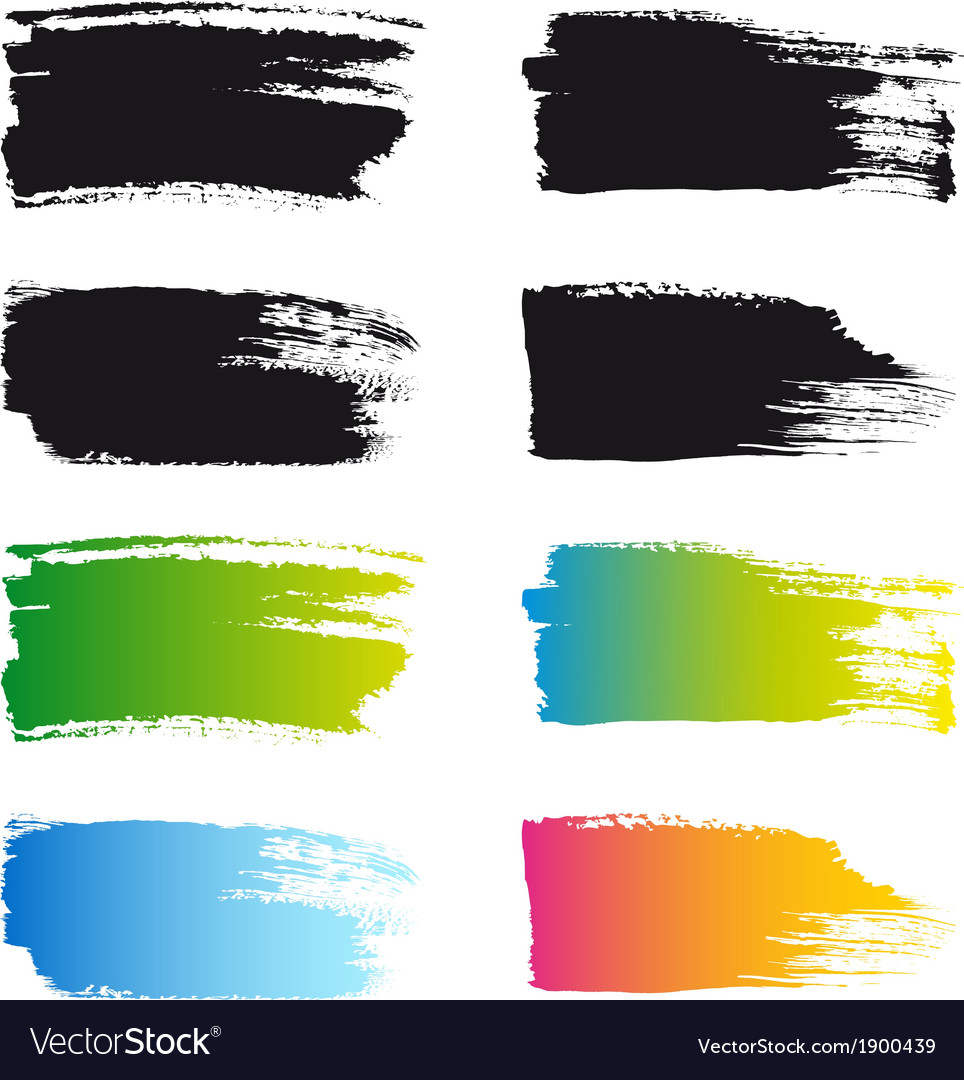 Paint brush stroke frames set vector