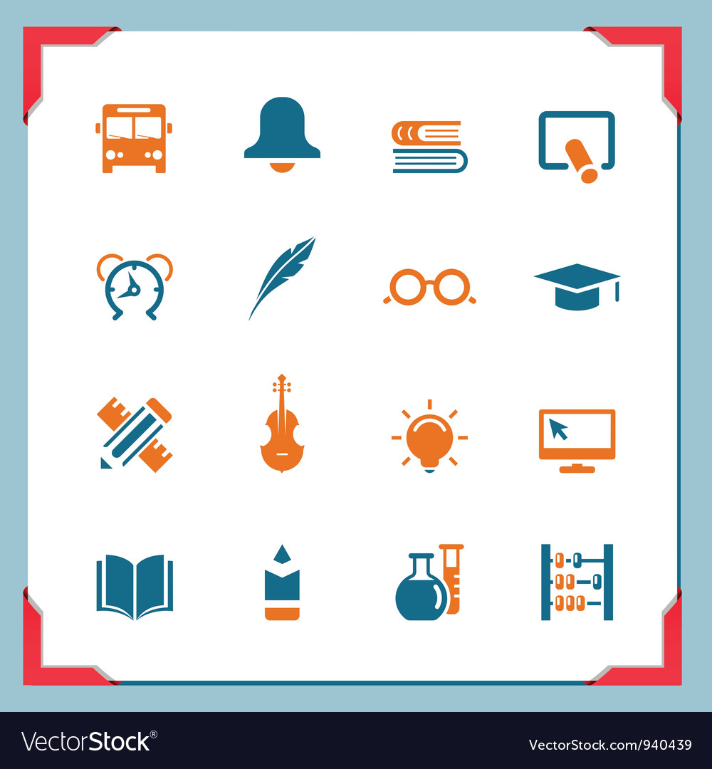 School icons 2 in a frame series vector | Price: 1 Credit (USD $1)
