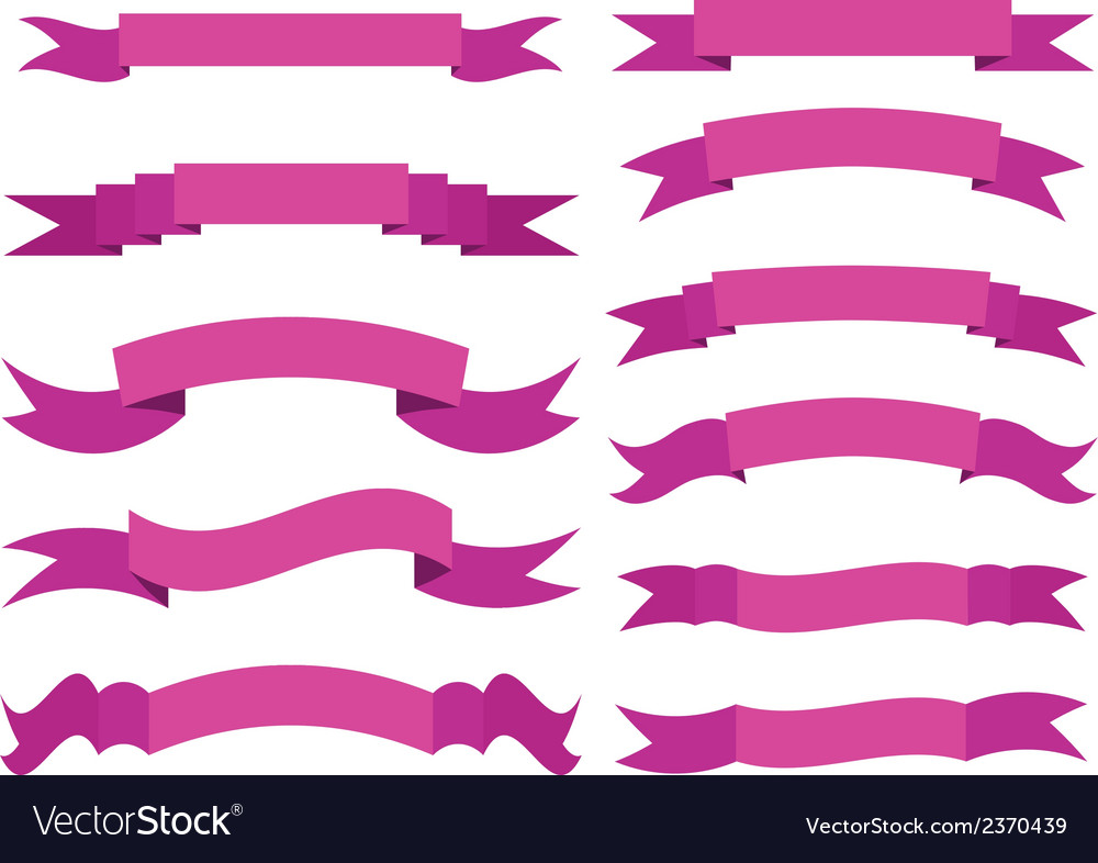 Set of violet ribbons vector | Price: 1 Credit (USD $1)