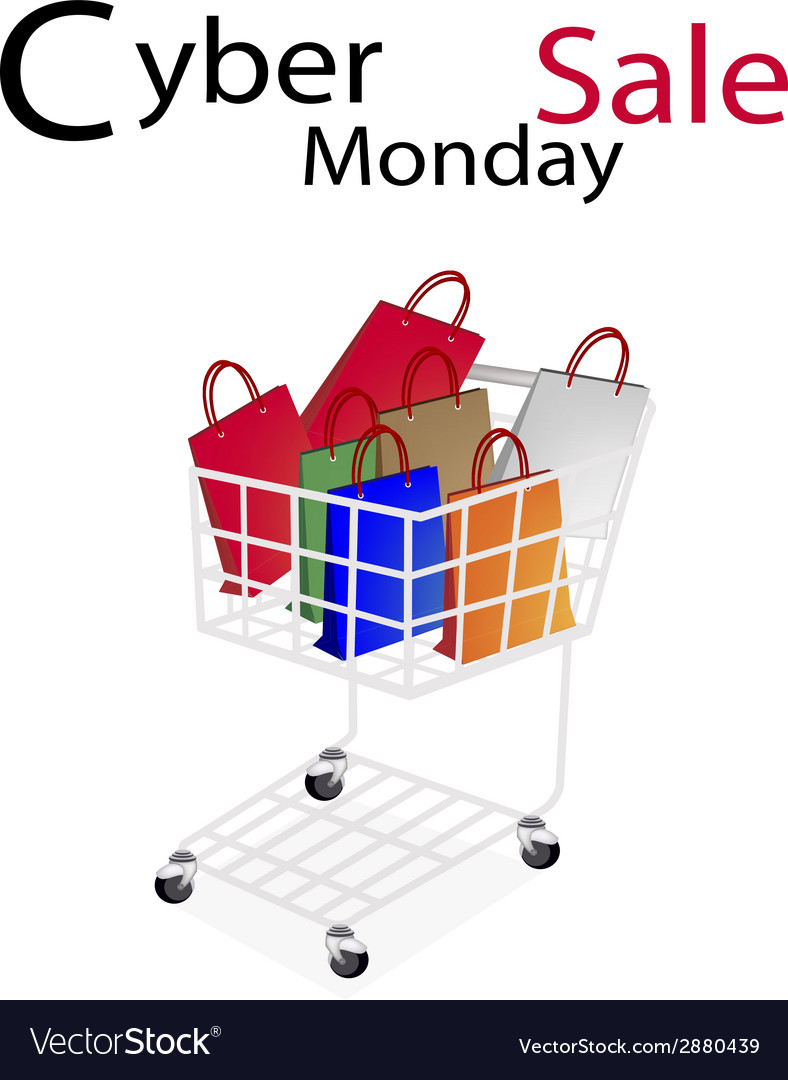 Shopping bags in cyber monday shopping cart vector | Price: 1 Credit (USD $1)
