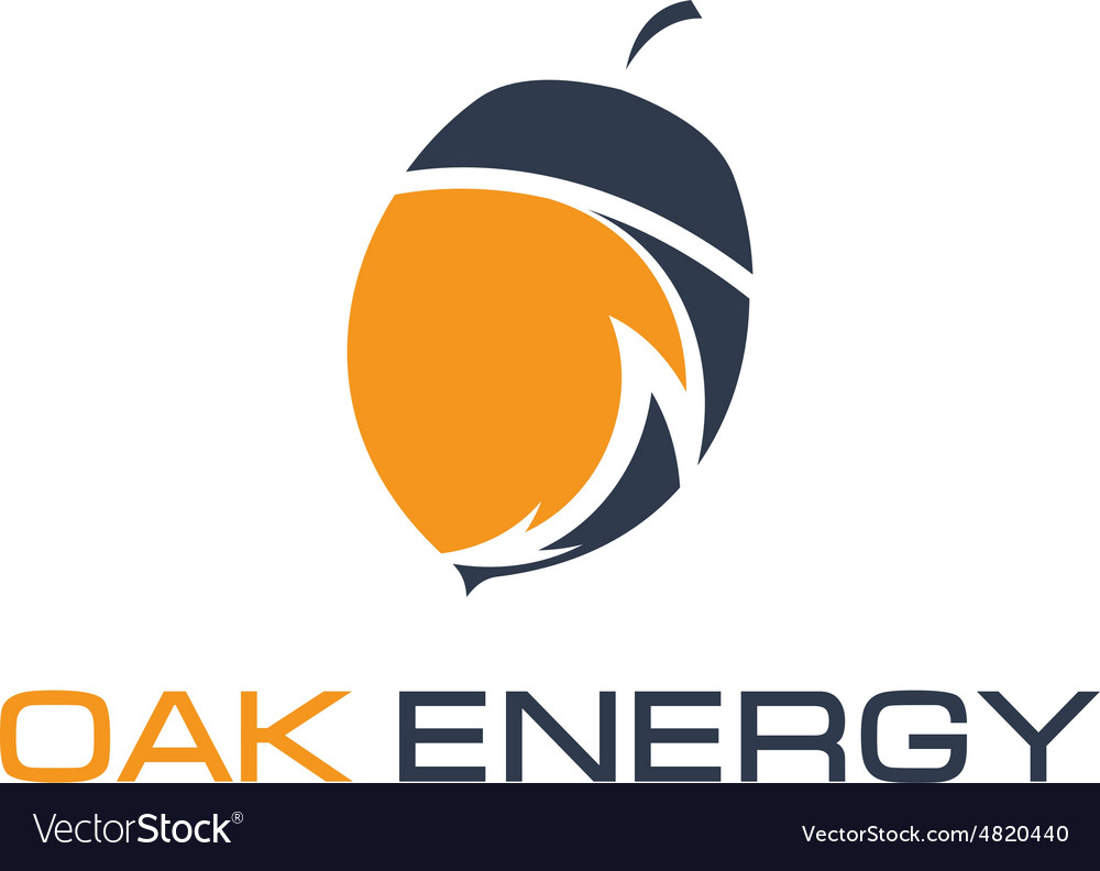Abstract icon of acorn and arrow energy vector