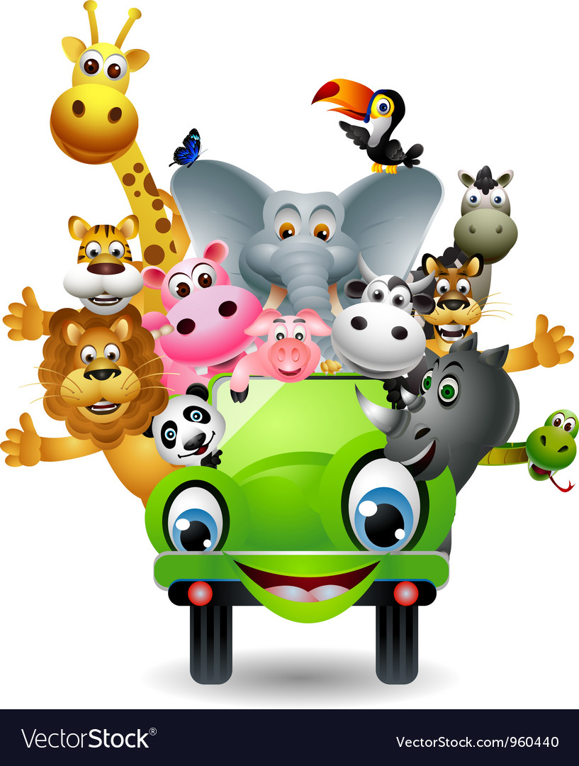 Animal cartoon in green car vector | Price: 3 Credit (USD $3)