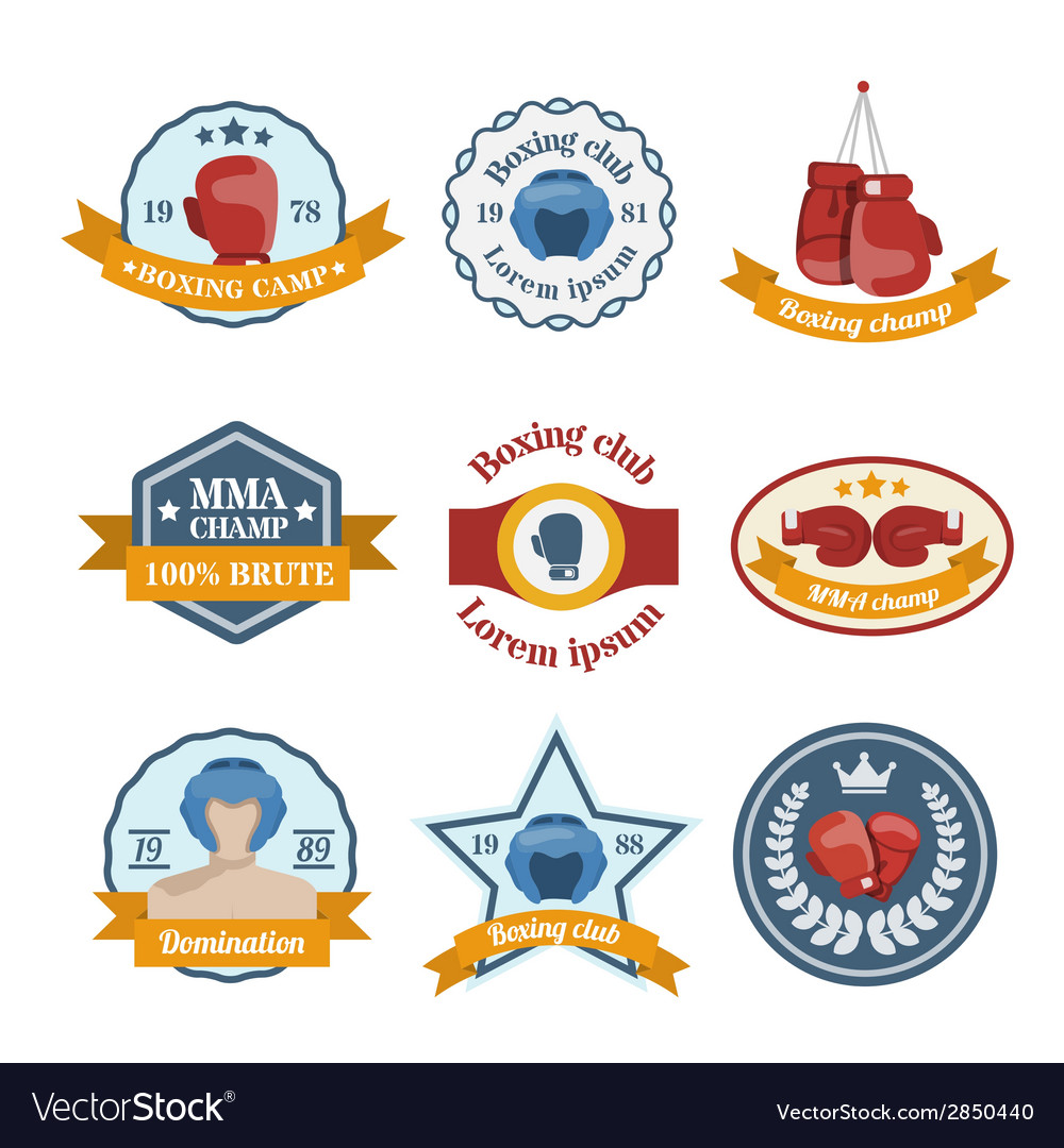 Boxing label set vector | Price: 1 Credit (USD $1)