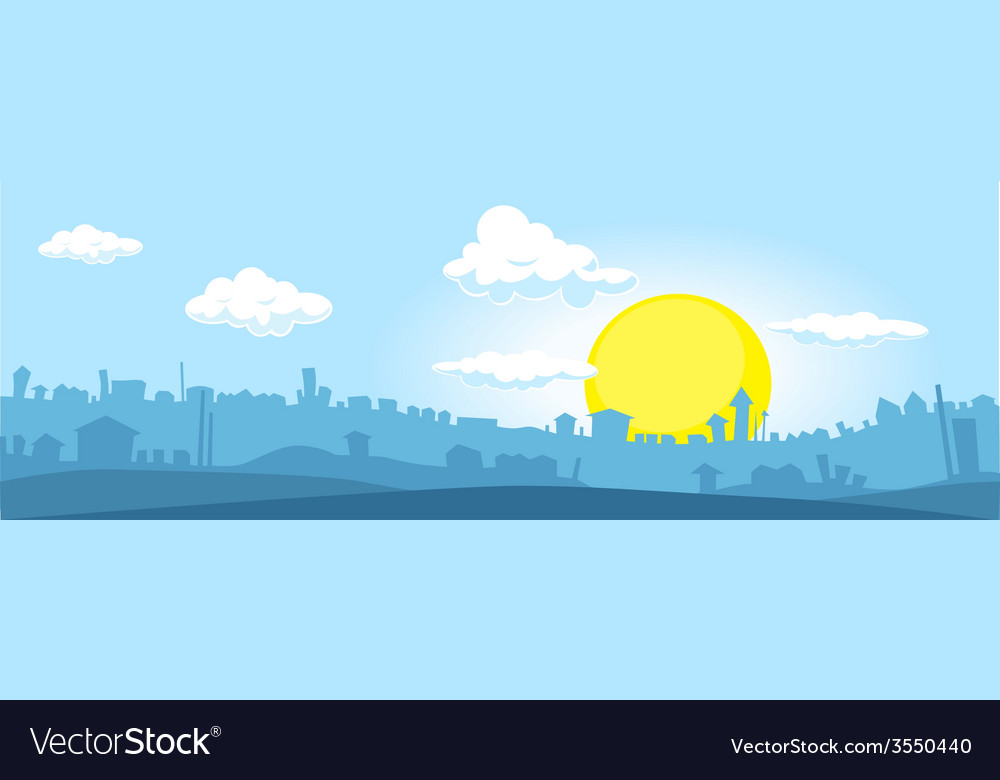 City at sunset - horizontal vector | Price: 1 Credit (USD $1)