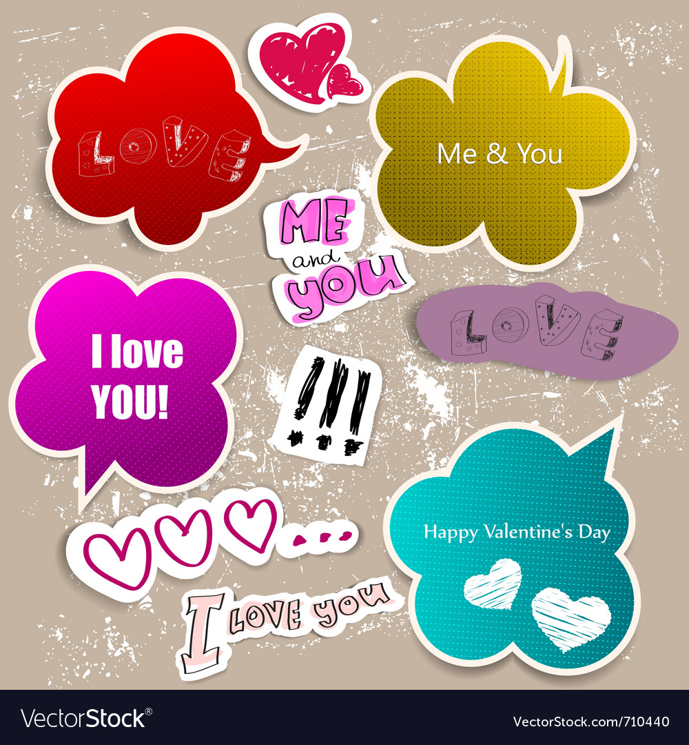 Colorful paper bubble for speech valentines day vector | Price: 1 Credit (USD $1)