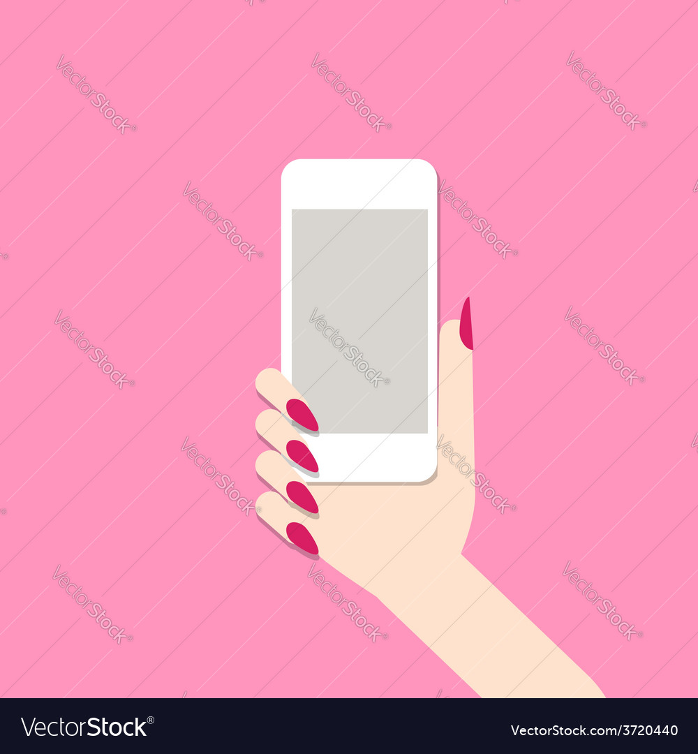 Female hand with mobile phone vector | Price: 1 Credit (USD $1)