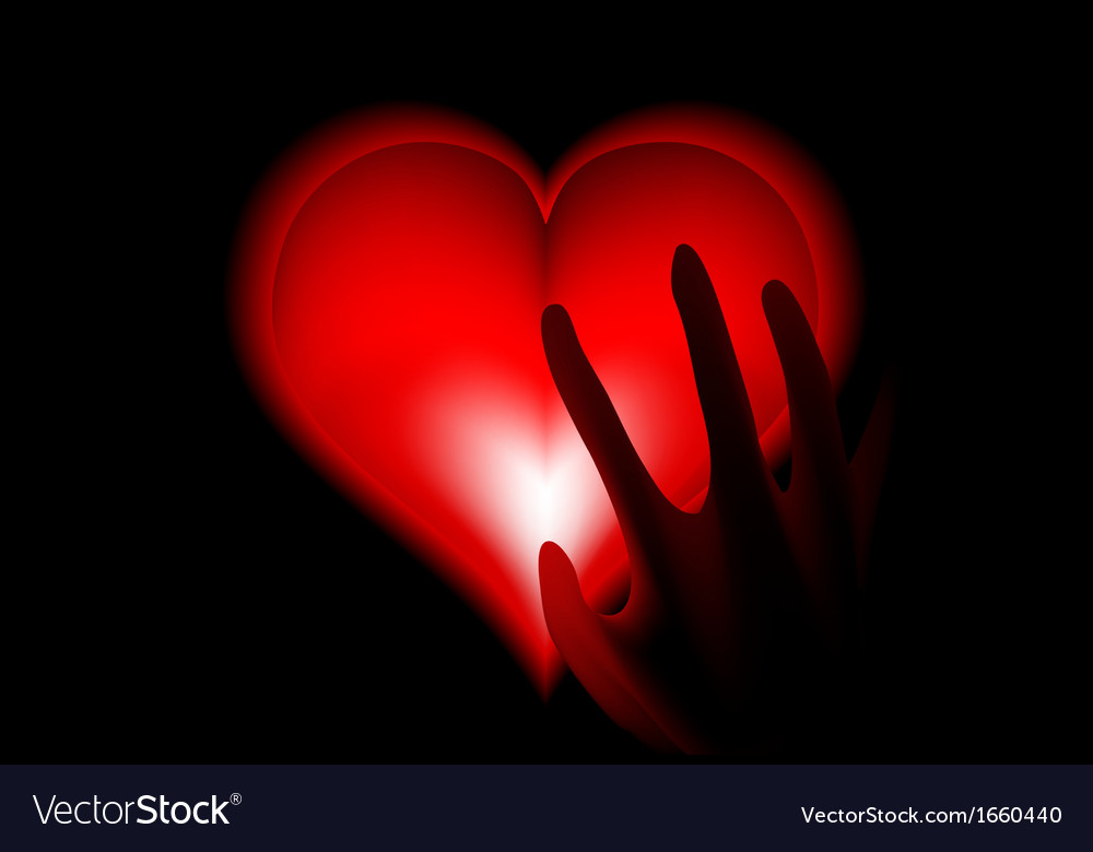 Hand in heat from heart hot vector | Price: 1 Credit (USD $1)