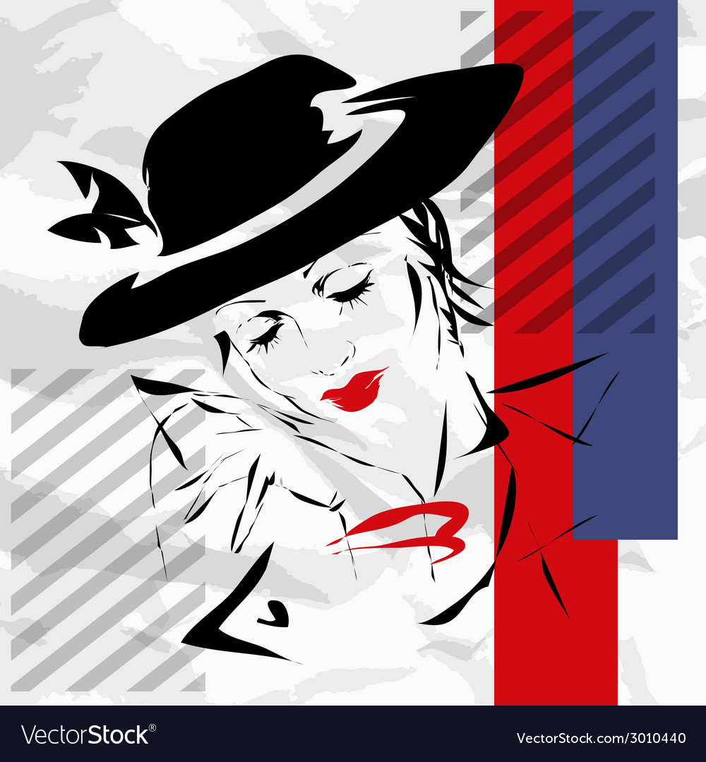 Retro the woman in a hat vector | Price: 1 Credit (USD $1)