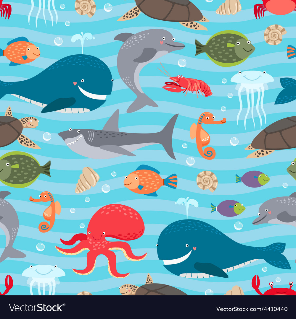 Sea creatures seamless background vector | Price: 1 Credit (USD $1)