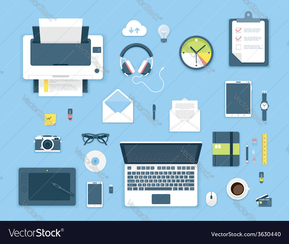 Top view office table vector | Price: 1 Credit (USD $1)