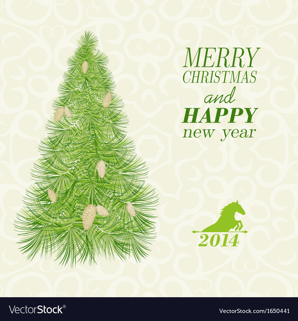 Christmas card with spruce and pinecone vector | Price: 1 Credit (USD $1)