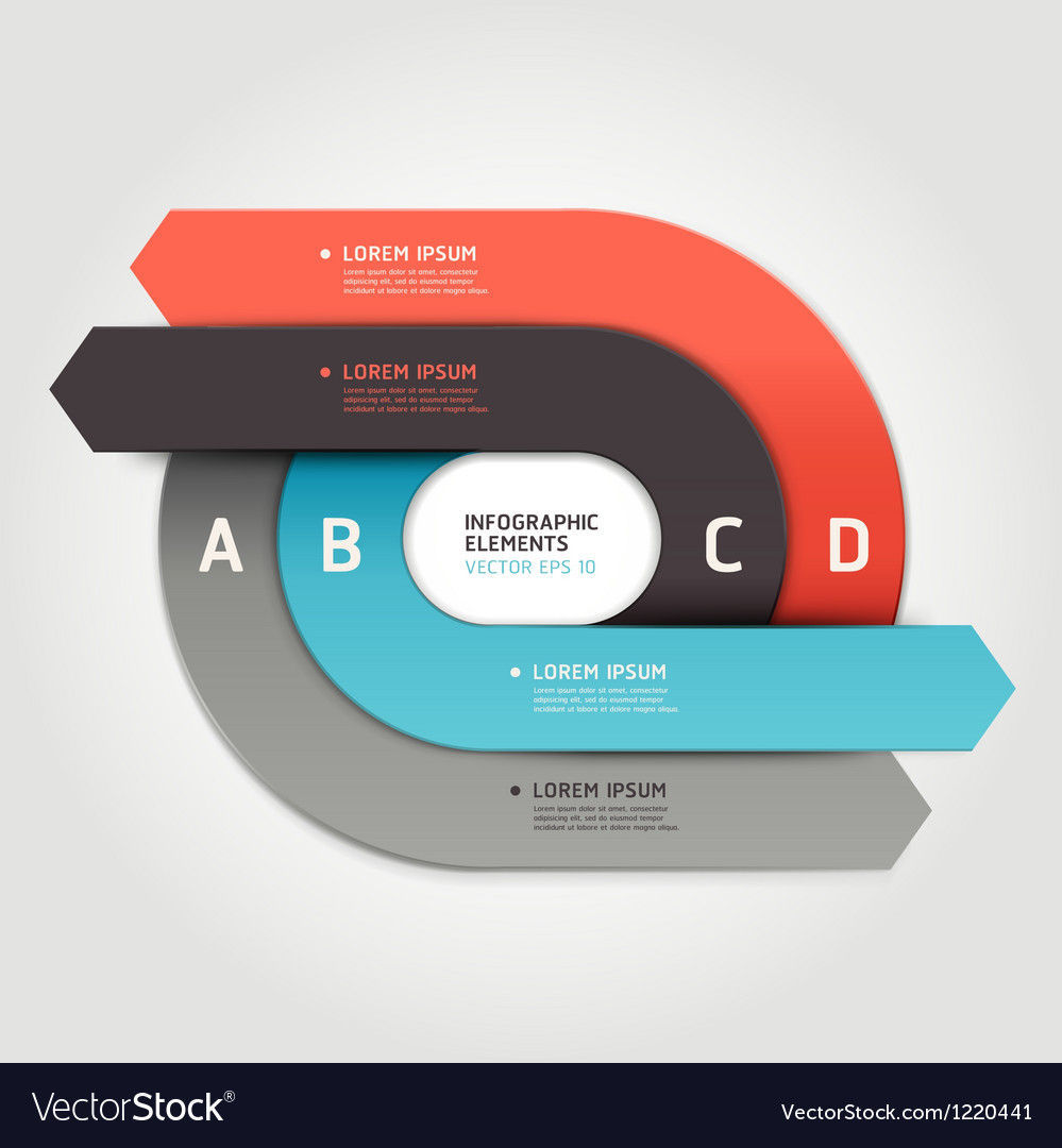 Modern arrow circle origami style options banner vector | Price: 1 Credit (USD $1)