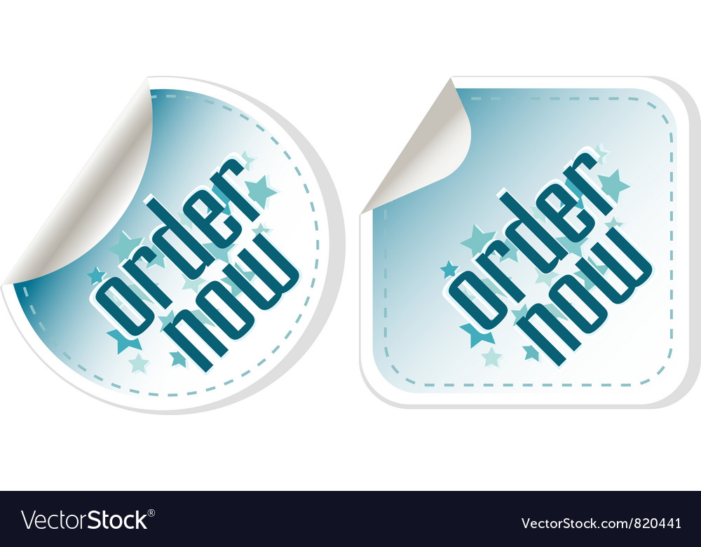 Order now stickers label set vector | Price: 1 Credit (USD $1)