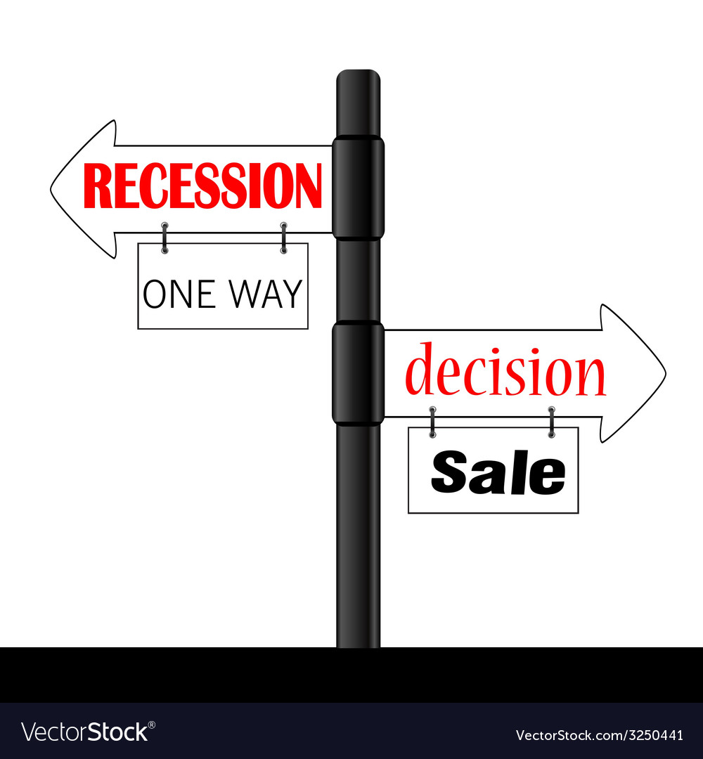 Recession or decision signboard color vector | Price: 1 Credit (USD $1)