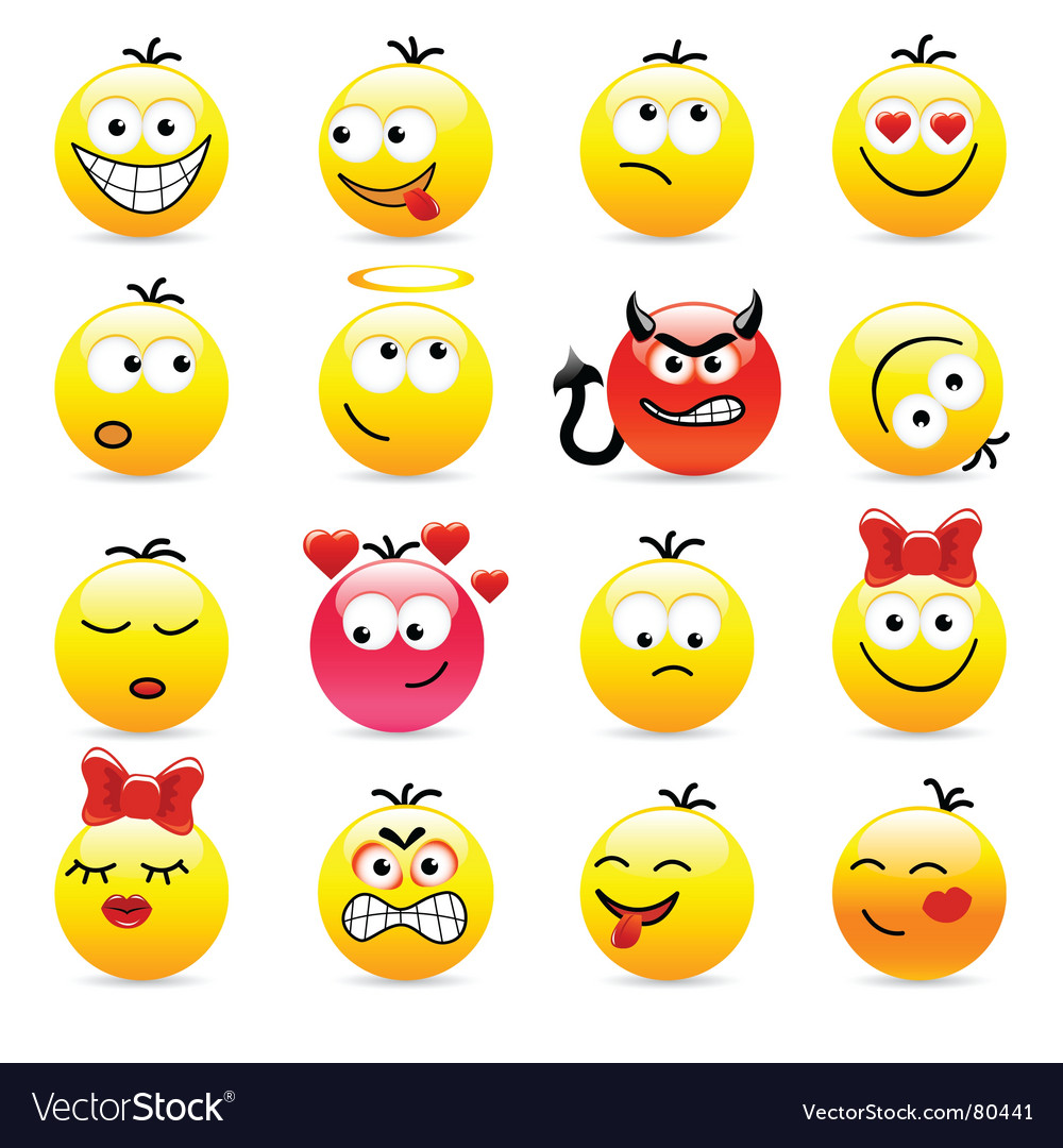 Set of smile icons vector | Price: 1 Credit (USD $1)