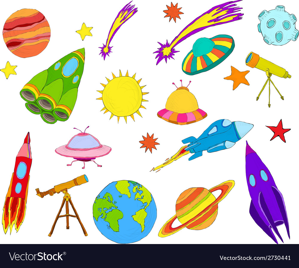 Space objects sketch set colored vector | Price: 1 Credit (USD $1)