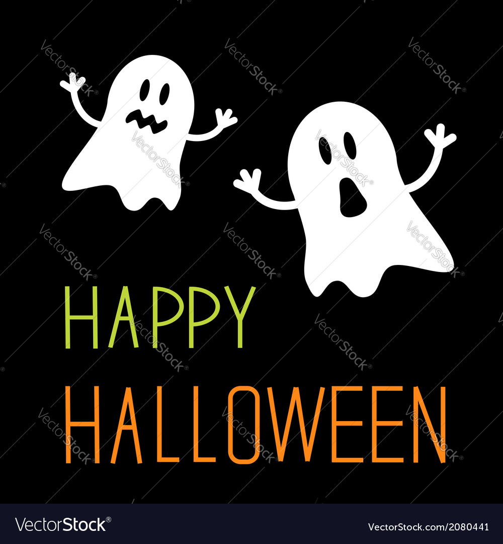 Two funny halloween ghosts card vector | Price: 1 Credit (USD $1)