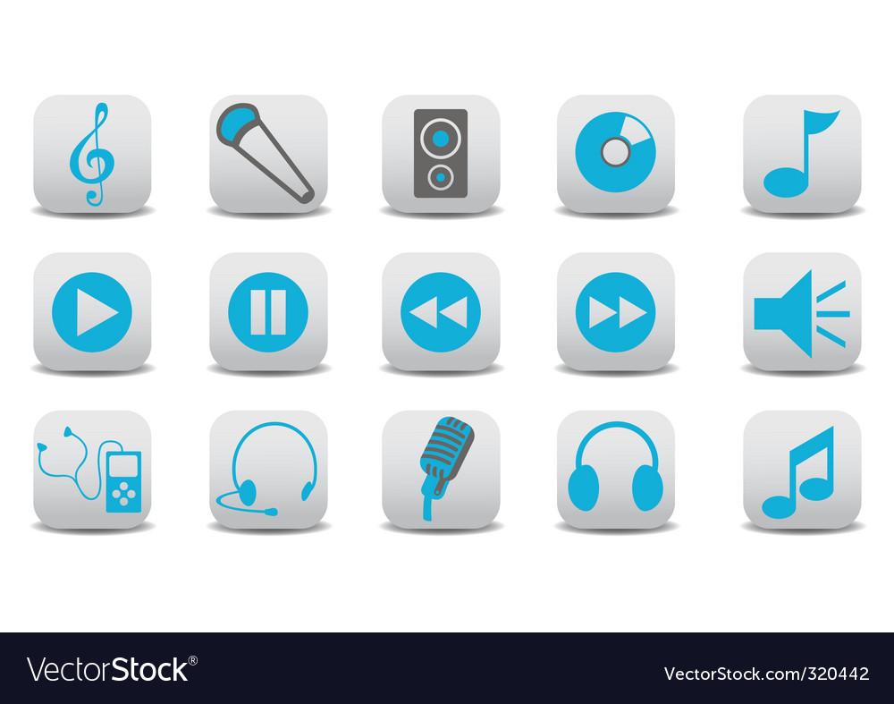 Audio icons vector | Price: 1 Credit (USD $1)