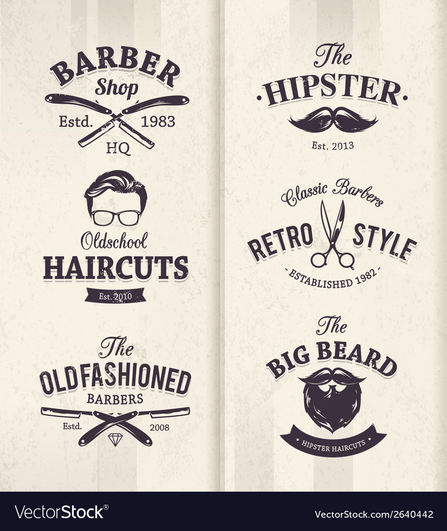 Barber shop emblems 1 vector | Price: 1 Credit (USD $1)
