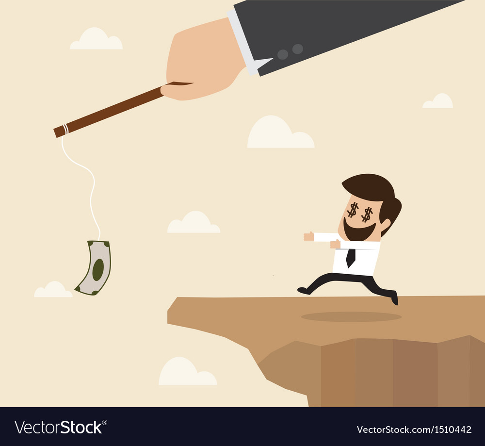 Businessman chasing money trap to the edge of clif vector | Price: 1 Credit (USD $1)