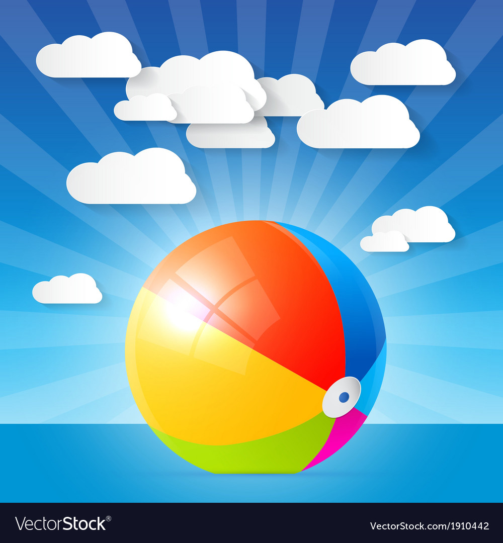 Colorful beach ball in the water - ocean vector | Price: 1 Credit (USD $1)