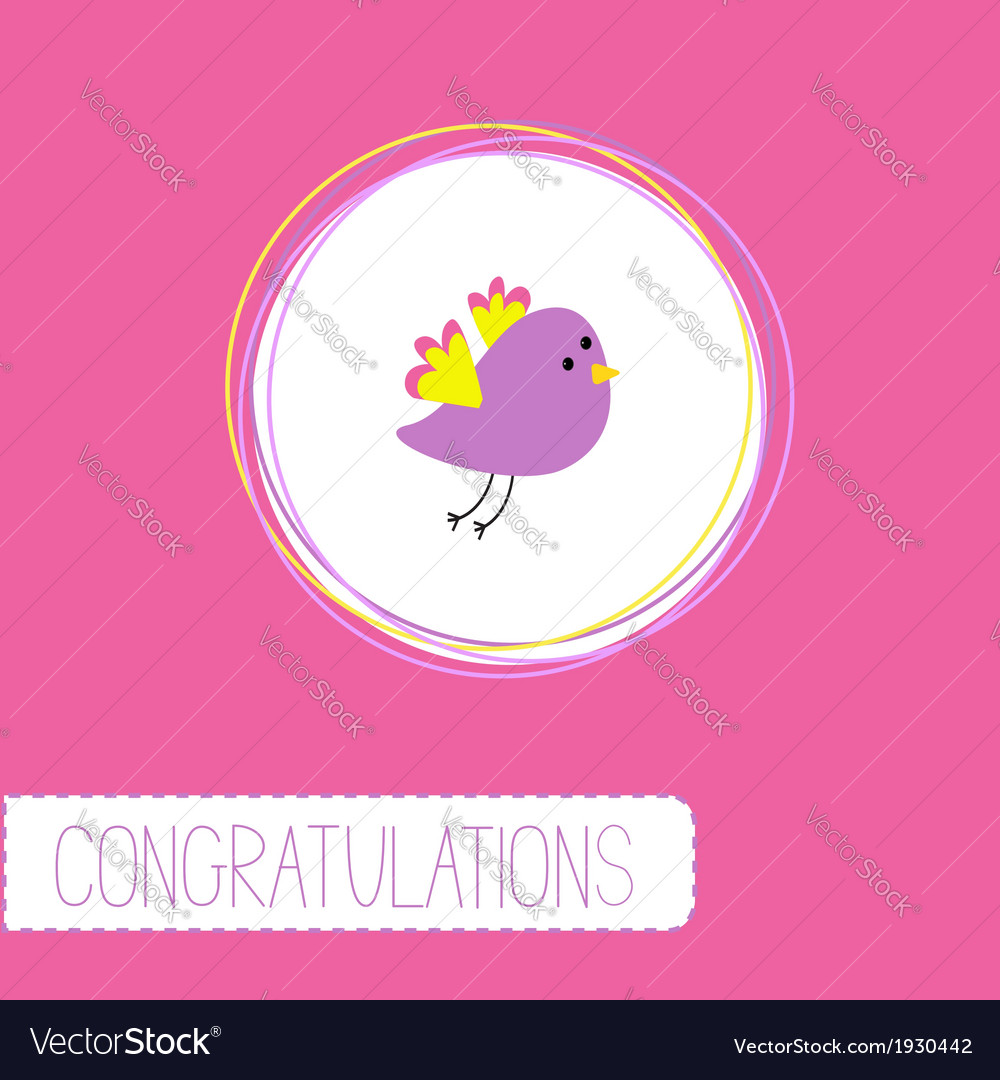 Congratulations card with cute violet bird vector | Price: 1 Credit (USD $1)