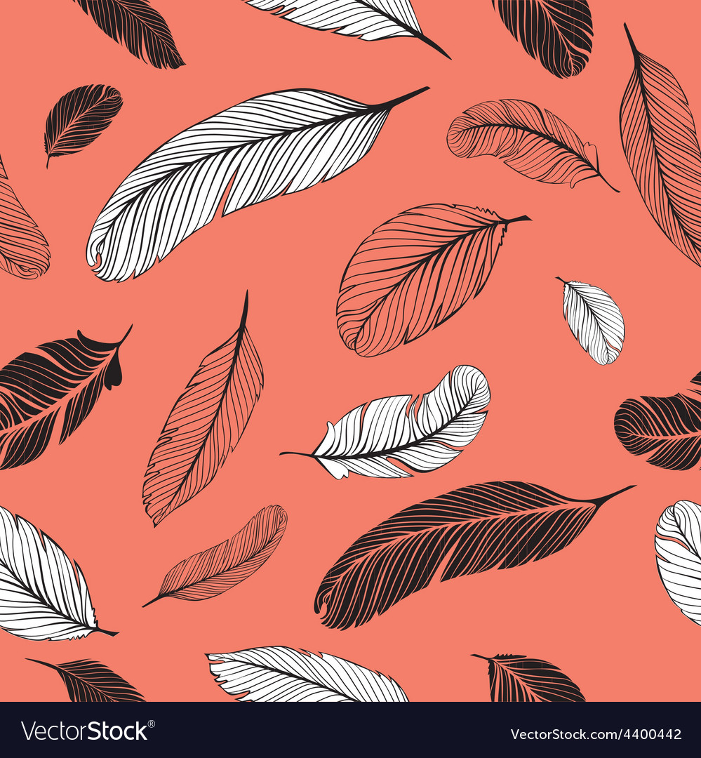 Feathers pattern pink vector | Price: 1 Credit (USD $1)