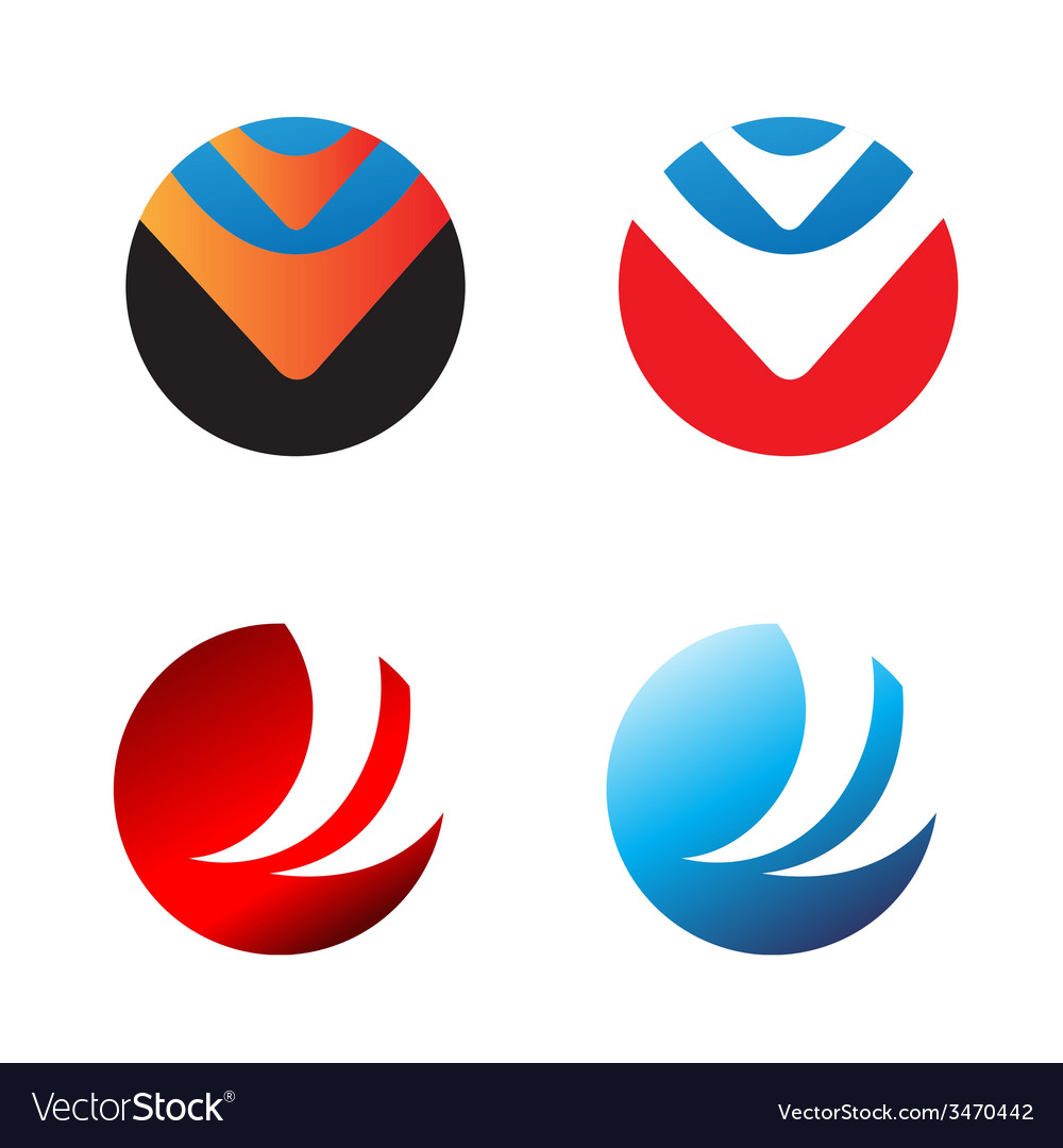 Four round logo for your business - media health vector | Price: 1 Credit (USD $1)
