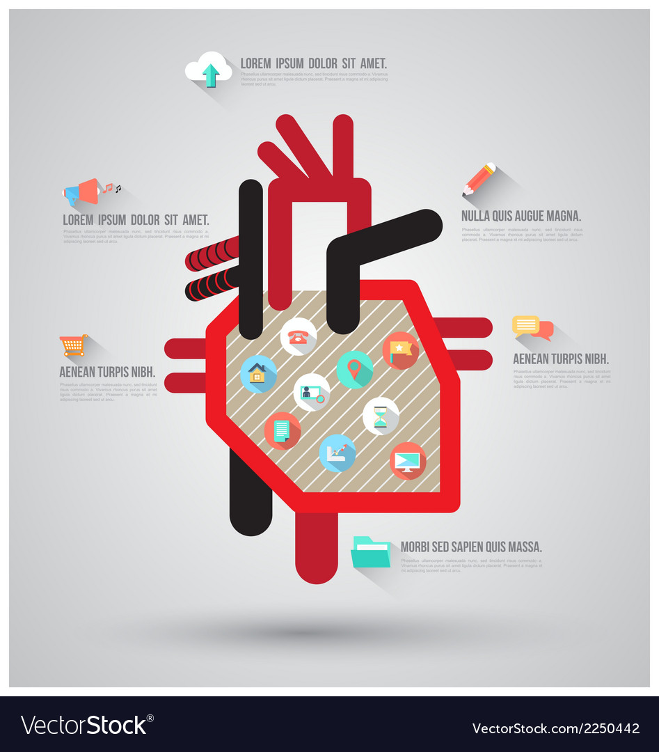 Heart with flat icons vector | Price: 1 Credit (USD $1)