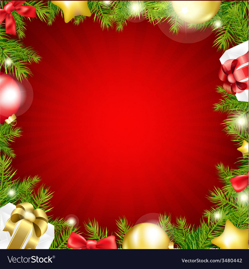 Red xmas card with fir tree vector | Price: 1 Credit (USD $1)